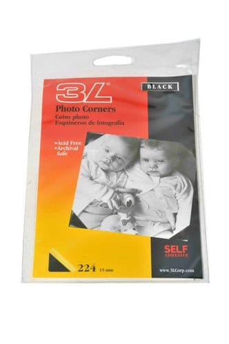 3L Black Photo Corners 15mm x 224