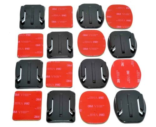 Curved & Flat Surface  Adhesive Mounts GoPro Compatible x8