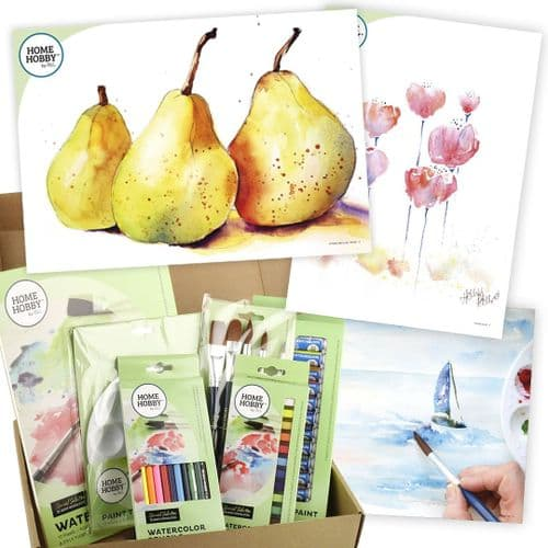 HOMEHOBBY by 3L Watercolor Studio Kit Plus • Trio of Pears by Kristin Ranney • Beginner