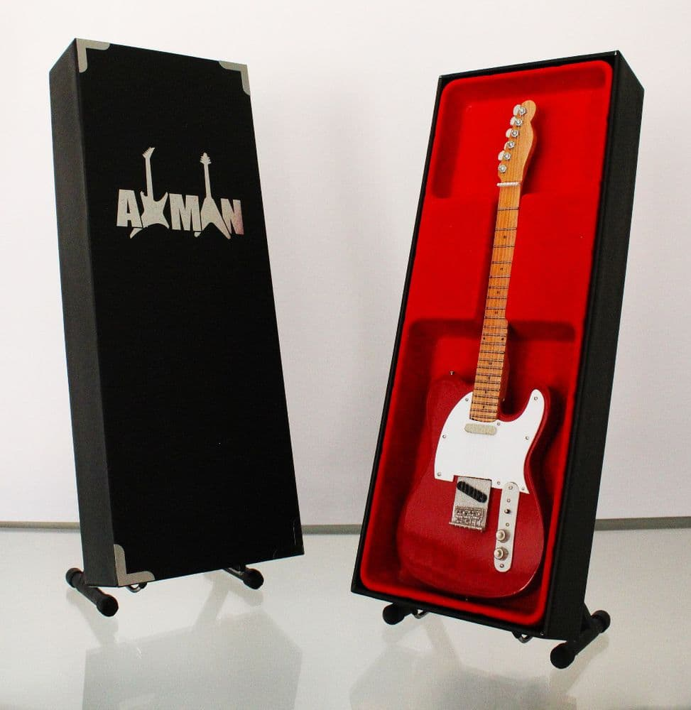 Red Miniature Guitar Replica with Display Case and Stand