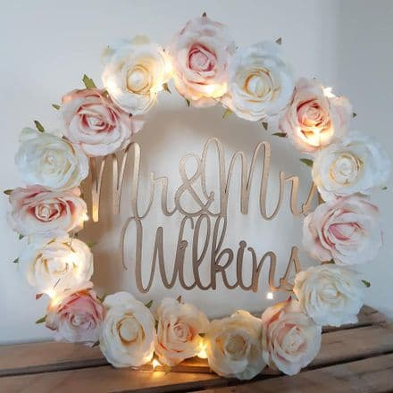 30cm wedding hoop for table with full floral wreath