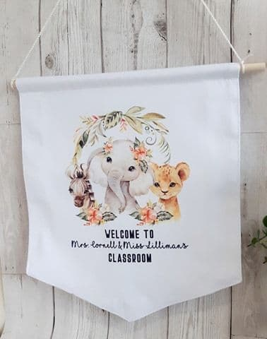 Door Sign. Personalised Pennant With Cute Animals. Classroom Sign With Animals
