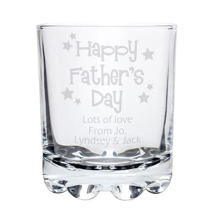 Glass Tumbler With Personalised Message. Father's Day Glass.