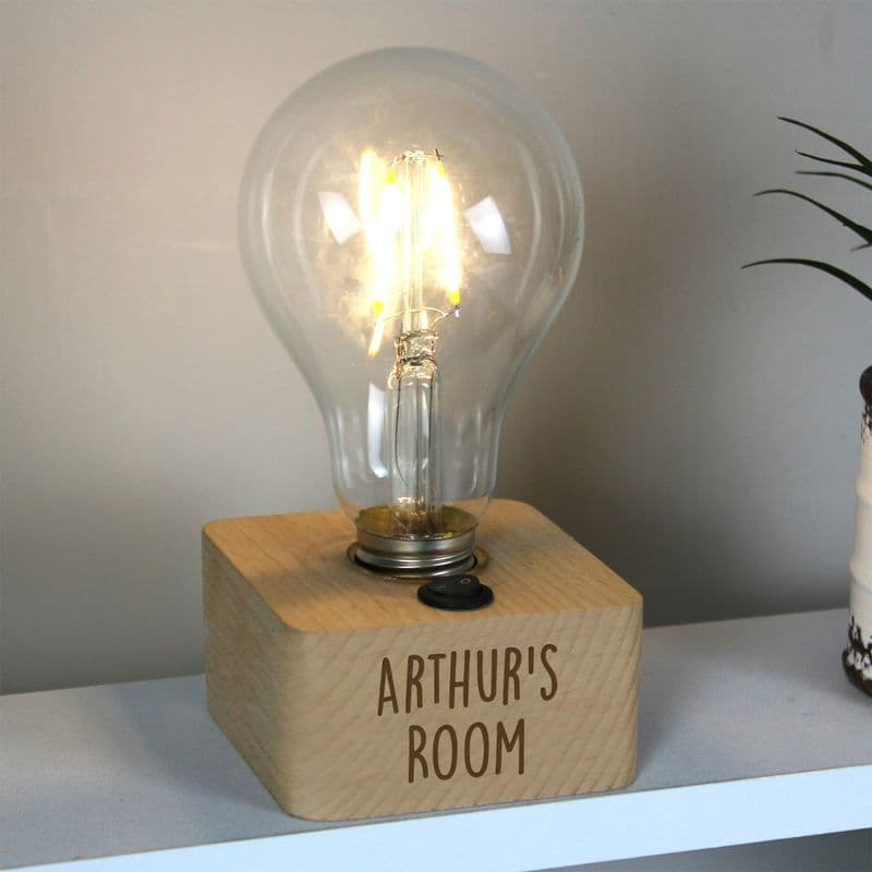 Battery Operated Personalised Light Bulb Lamp