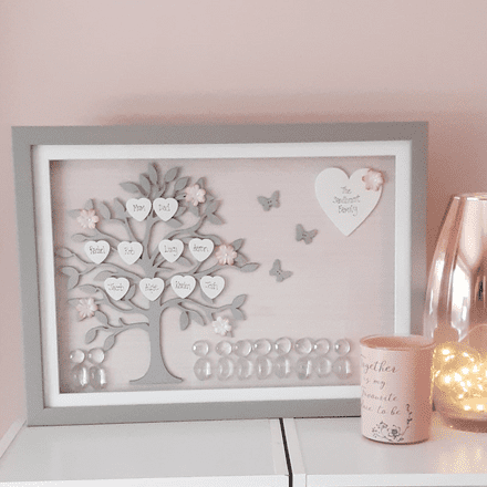 Big A3 Sized Family Tree With Pebble People. Large Blush Pink And Silver Pebble People Frame