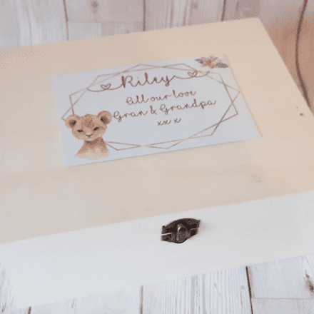 Cute Animal Design Memory Box. Personalised Wooden Memory Box With Animals