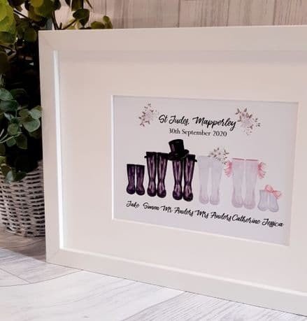 Framed Wedding Personalised Picture. Wedding Wellington Boots For Bridal Party.