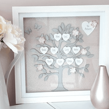 Large 30cm Framed Blush Pink And Silver Family Tree