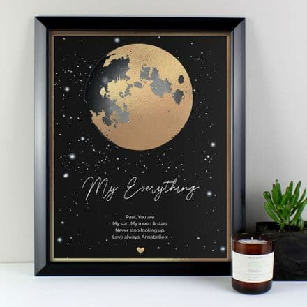 Moon And Stars Romantic Print In Frame. Modern Framed Print For Valentines.