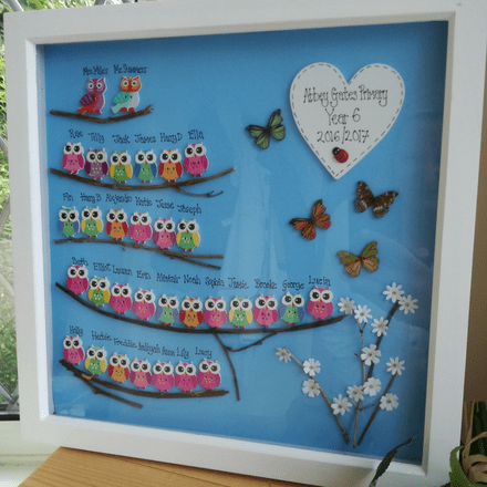 Owl Class Frame. Personalised Teacher Gift With Owls.