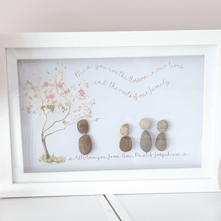 Pebble People Family With Blossom Tree. Framed Blossom Tree Pebble People Picture.