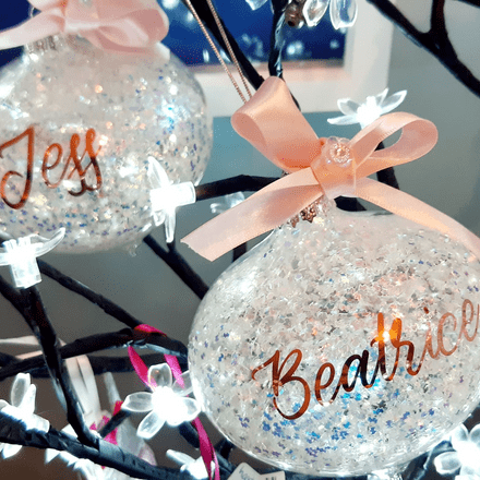 Personalised Large Glass Glitzy Bauble With Bow