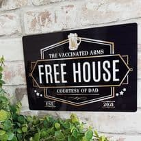 Pub Sign Vaccinated Arms