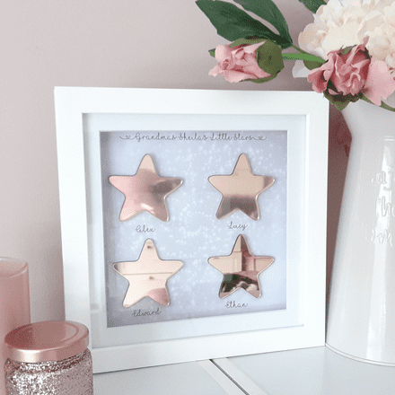 Rose Gold Mirrored Stars Personalised Print. Stars Design Personalised Picture In Frame.