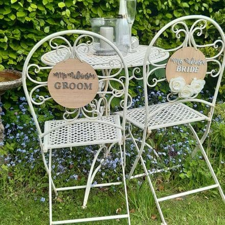 Wooden wedding sign for chair backs, top tables or page boys and bridesmaids