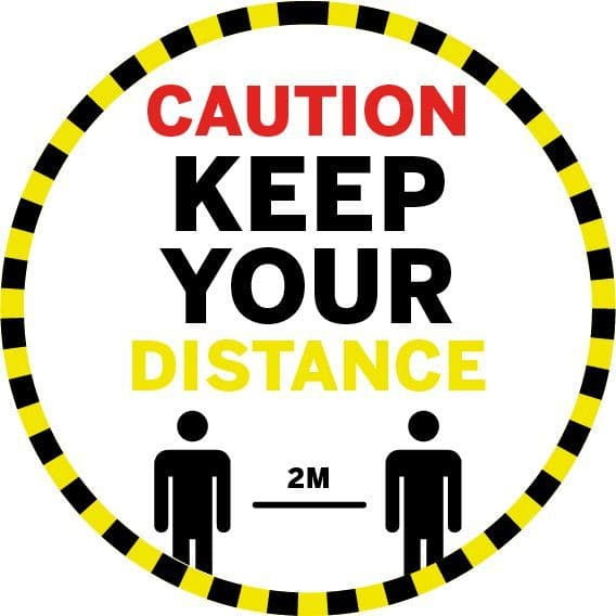 Caution Keep Your Distance - Floor Stickers