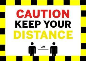 Caution Keep Your Distance - Floor Stickers Rectangle