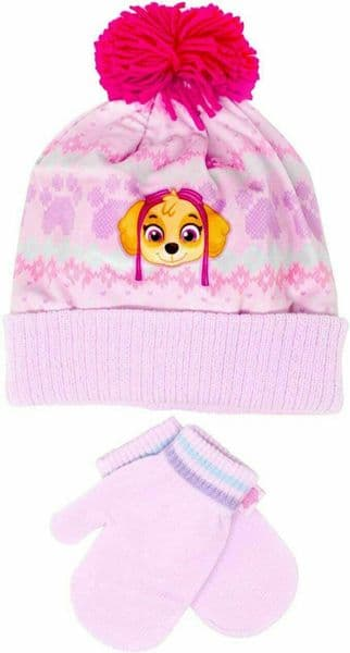 £2.95 each - Paw Patrol Skye Bobble Hat and Mitten Set - One Size x 10