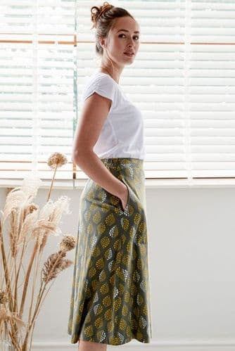 Nomads Organic Cotton Skirt in Olive