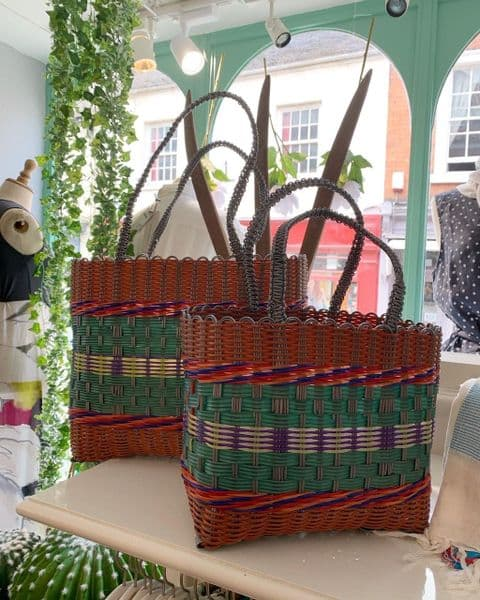 Recycled Plastic Shopper in Coral and Green