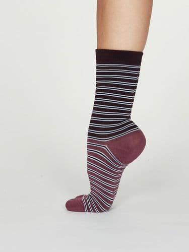 Thought Clothing Bamboo Socks - Emme Stripe Dusty Pink