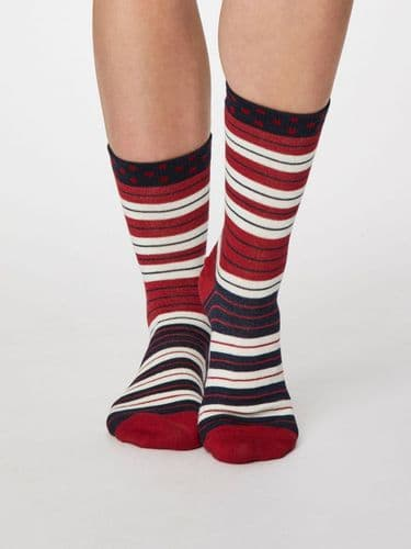 Thought Clothing Bamboo Socks - Striped in Berry