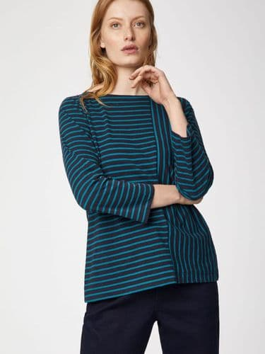 Thought Clothing Batha Stripe Tee in Navy & Teal
