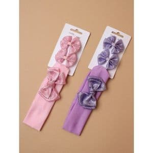 Bandeau & Matching Bow Clips Set