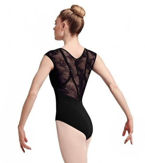 Bloch L7714 'Hava' Lace and Ribbon Back Cap Sleeve Leotard in Black