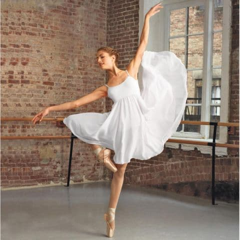 Long White Lyrical Dress from Capezio Hire Costume