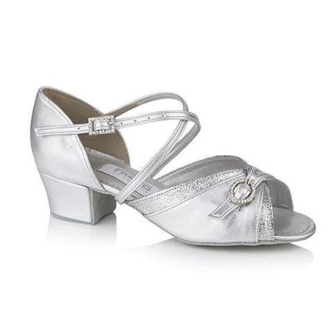 Lucy Silver Children's Ballroom Shoe with 1.5'' Cuban Heel