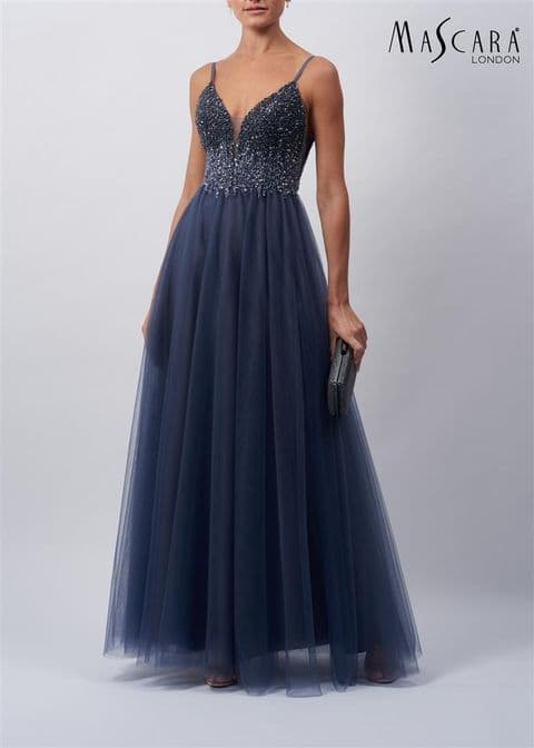 Mascara Charcoal Ombre Beaded Tulle Prom Dress MC119523