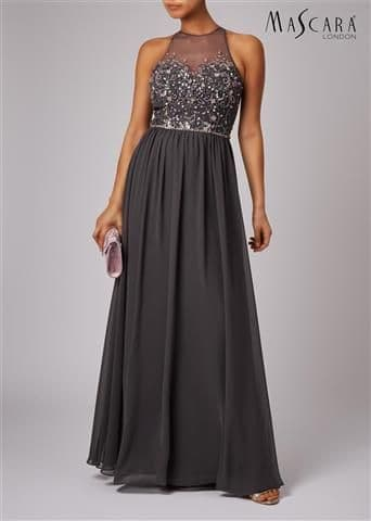 Mascara Embellished  Evening Dress MC181449  in Charcoal
