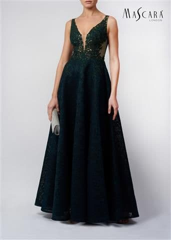 Mascara Embellished Layered Tulle Prom Dress MC11942 in Forest