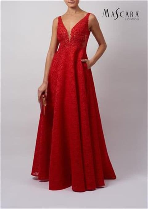 Mascara Embellished Layered Tulle Prom Dress MC11942 in Red