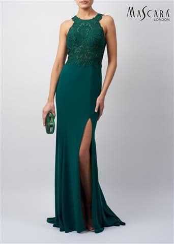 Mascara Forest Green Embellished Lace Evening & Prom Dress MC120932