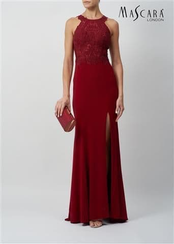 Mascara in Wine Embellished Lace Evening & Prom Dress MC120932