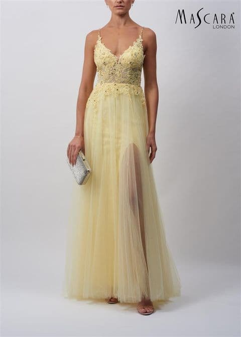 Mascara Lace and Tulle Prom Dress in Lemon MC11937