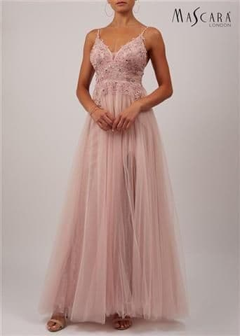 Mascara Lace and Tulle Prom Dress in Soft Rose MC11937