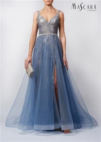 Mascara Lace and Tulle Prom Gown in Steele Blue MC119519