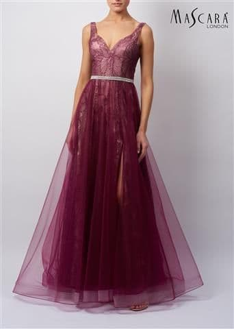 Mascara Lace and Tulle Prom Gown in Wine MC119519