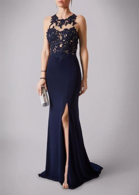Mascara Lace Bodice Evening Dress MC181223G in Navy