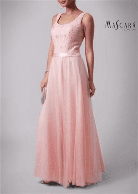 Mascara Lace & Tulle Gown MC181213BM in Blush UK Size 12