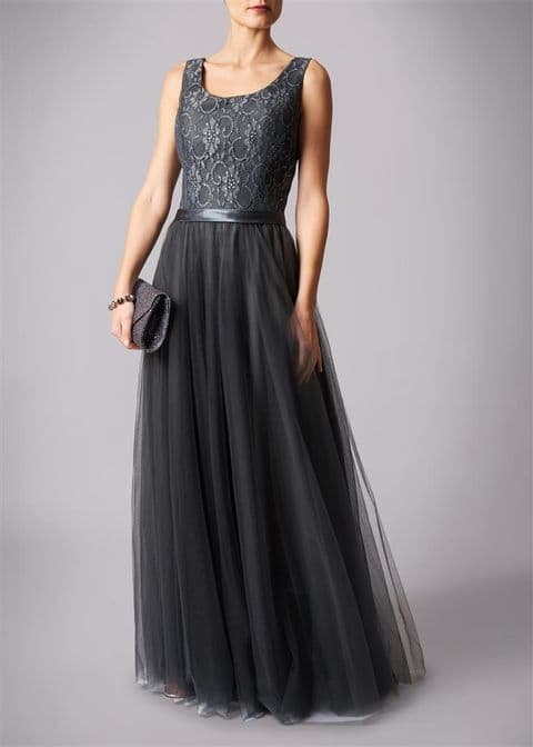 Mascara Lace & Tulle Gown MC181213BM in Charcoal UK Size 10