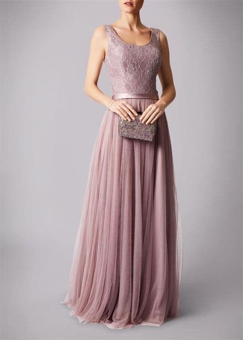 Mascara Lace & Tulle Gown MC181213BM in Mauve UK Size 12