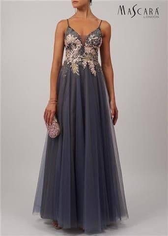Mascara Lace Tulle Prom Gown MC11932 in Charcoal