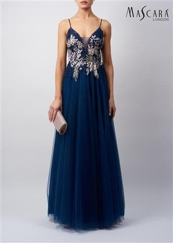 Mascara Lace Tulle Prom Gown MC11932 in Navy