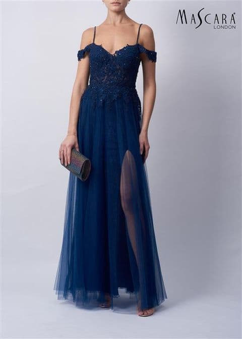 Mascara Lace Tulle Prom Gown MC11936 in Navy