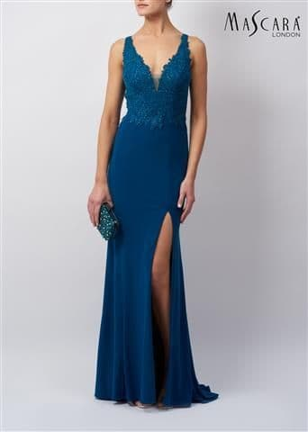 Mascara Long Lace Jersey Gown MC120117 in Teal