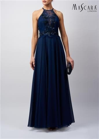 Mascara Navy Floor Length Lace Bodice Evening & Prom Dress MC129226